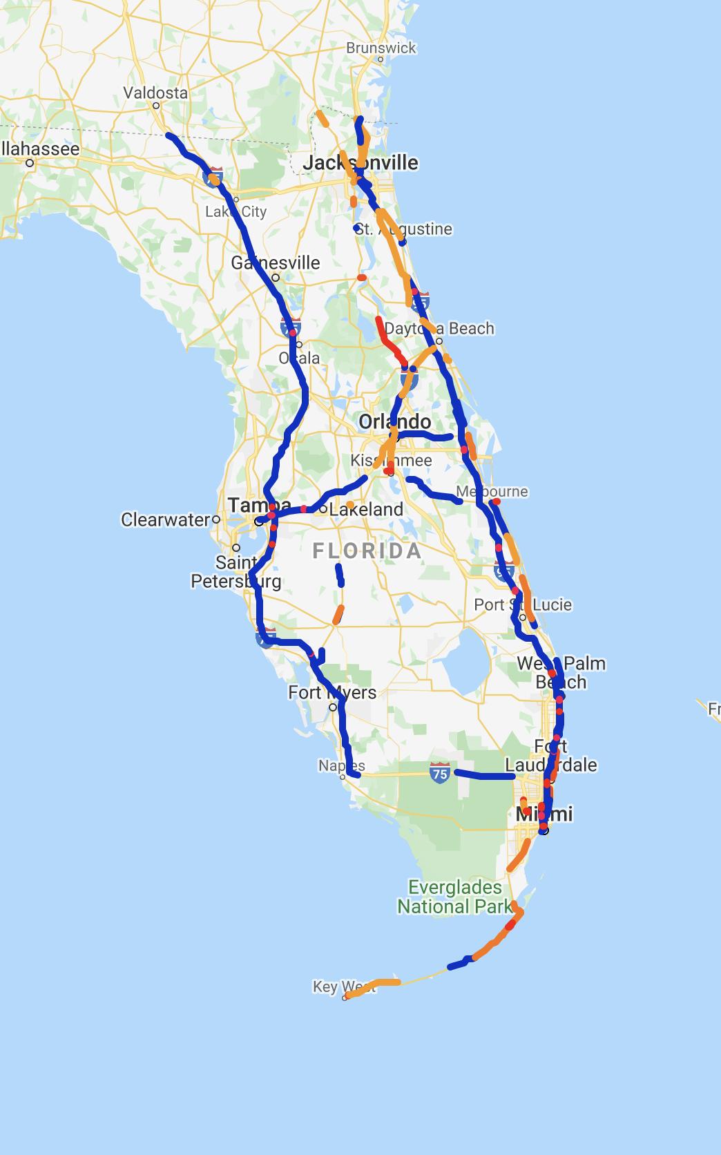 kasko2go Strassen-Risikokarte von Florida, USA